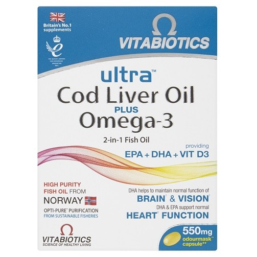 cad26516a9db6 Vitabiotics AquaMarine 2-in-1 Omega-3 Oil and Cod Liver Oil Capsules x60