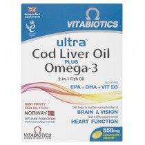 Vitabiotics AquaMarine 2-in-1 Omega-3 Oil and Cod Liver Oil Capsules x60