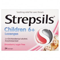 Strepsils Children 6+ Strawberry Sugarfree - 24 Lozenges
